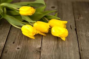 tulipas amarelas em uma superfície de madeira