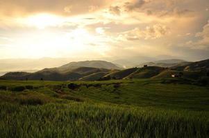 paisagem de campos de arroz em socalcos na montanha
