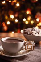 leite com chocolate com biscoito doce foto