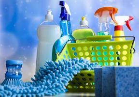 produtos de limpeza, trabalho doméstico tema colorido foto