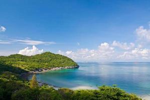 bela vista do mar e céu azul da praia