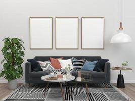 modelo de quadro vazio na sala de estar branca