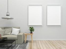 dois modelos de moldura no interior de uma sala de estar