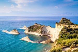 litoral azul com falésias