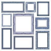 conjunto de moldura azul com espaço em branco, traçado de recorte,