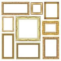 conjunto de moldura dourada vintage com espaço em branco, traçado de recorte