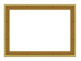 moldura de ouro vintage isolada no fundo branco, com traçado de recorte.