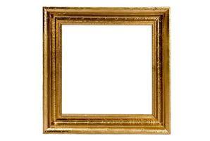 moldura quadrada dourada isolada no branco