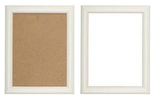 porta-retrato de madeira branca com e sem fundo de fibra