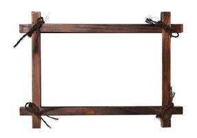 moldura de madeira com cadarços