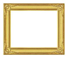 moldura de ouro antiga no fundo branco