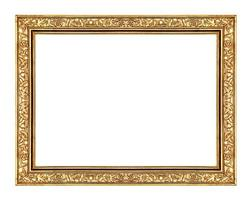 imagem moldura dourada isolada no fundo branco e caminho de recorte