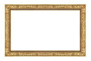 moldura de ouro vintage isolada no fundo branco, traçado de recorte