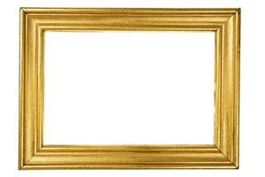 moldura de madeira pintada com ouro