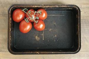 tomates em uma assadeira, em um fundo escuro. foto