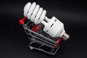 com carrinho de compras de lâmpada