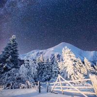 paisagem de inverno mágica e o céu estrelado foto