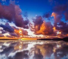 céu refletido na água ao pôr do sol