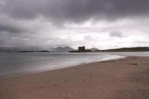 Praia de Ballynskelligs em um dia nublado