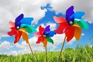 três cata-ventos coloridos de arco-íris presos em um campo de grama