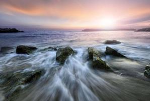 paisagem marinha, ondulação, nascer do sol.