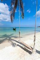 balanço, sombra de palmeira, barco, praia