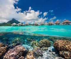 polinésia francesa acima e abaixo da água