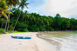praia tropical exótica com areia branca e águas azuis