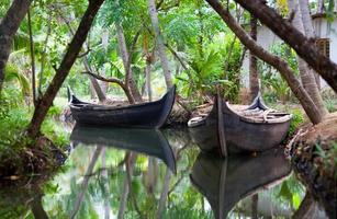 barcos de canoa em remansos do estado de kerala, Índia