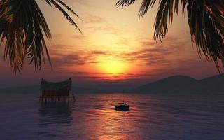 Renderização 3D de uma mulher tomando banho de sol em uma paisagem tropical