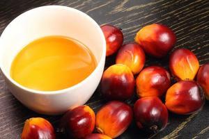 fruta de palma e tigela de óleo de cozinha foto