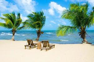 cadeira na bela praia foto