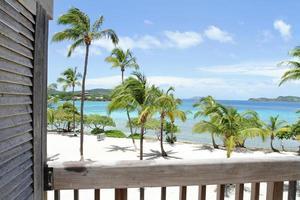 praia tropical, caraíbas, vista do convés