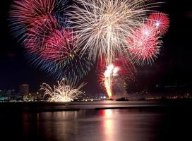 fogos de artifício florescendo da noite de celebração