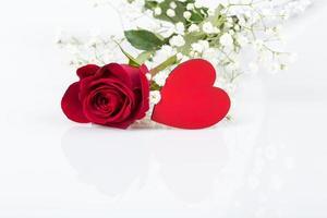 coração e rosa foto