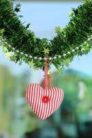 tecido coração vermelho pendurado foto