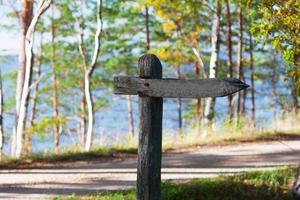 velha placa de madeira perto da estrada e do mar foto