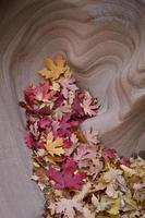 folhas caídas coletadas em uma alcova de pedra em forma de coração