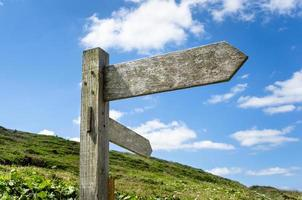 placa de direção de madeira em branco foto
