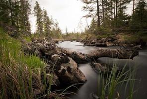 rio na selva fotografado com longa exposição