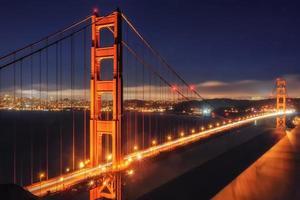 ponte Golden Gate, iluminação noturna.