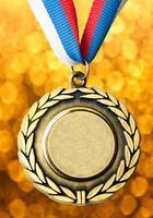 medalha de metal com fita tricolor