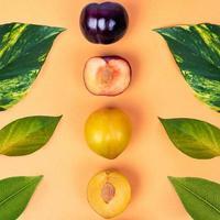 fruta de ameixa colorida em fundo amarelo foto