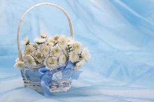 pequenos crisântemos brancos em uma cesta branca