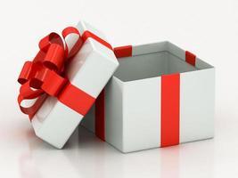 abra caixas de presente brancas com fita vermelha