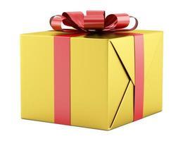 caixa de presente amarela com fita vermelha isolada no fundo branco