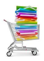 livros no carrinho de compras