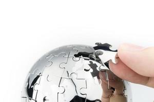 estratégia global e conceito de negócios de soluções, quebra-cabeça