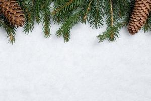 fundo de natal com galhos de pinheiro, cones e neve