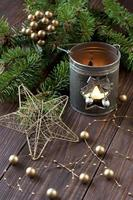 cartão-presente de natal com composição de feriado foto